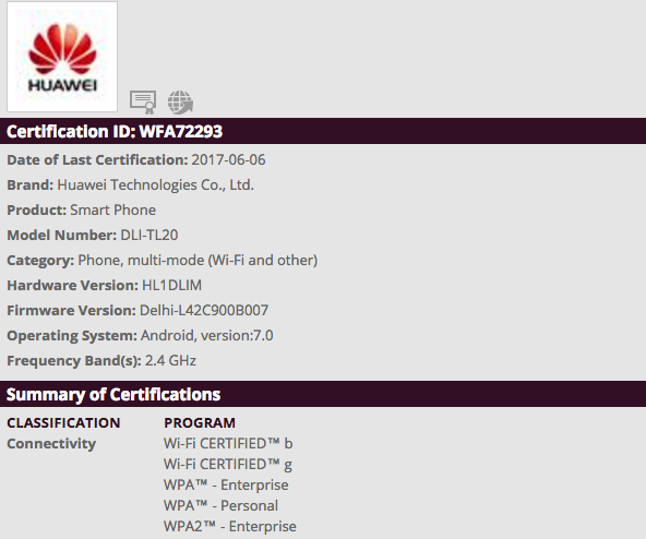 Honor DLI-TL20 passes WiFi certificate