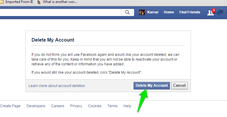 Delete my Facebook Account Permanently